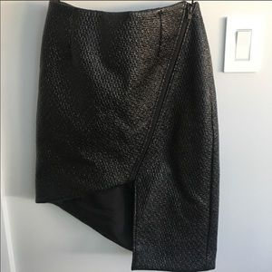 Finders Keepers Black Patent Asymmetrical Skirt